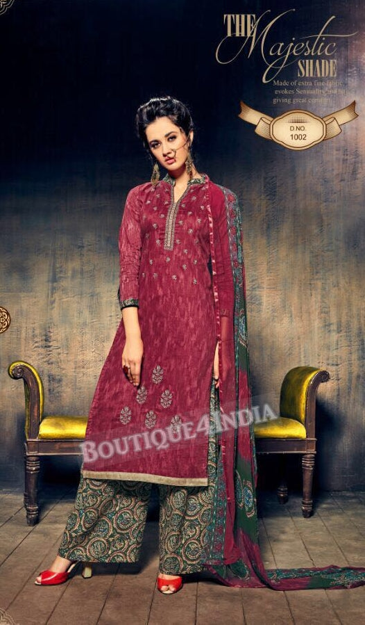 Mexican Red Pure Jam Silk Cotton Salwar Palazoo Suit