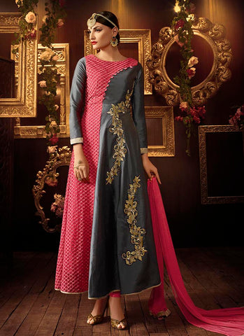 Pink grey taffeta silk anarkali suit