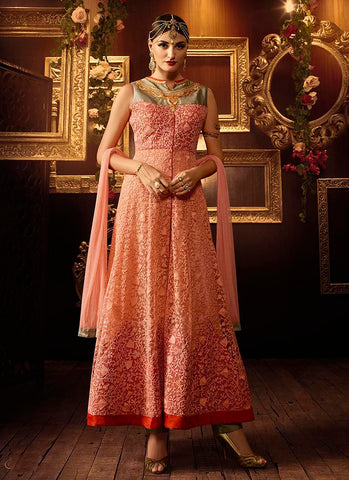 Peach net wedding wear anarkali suit