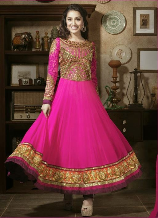 Pink georgette party wear salwar kameez