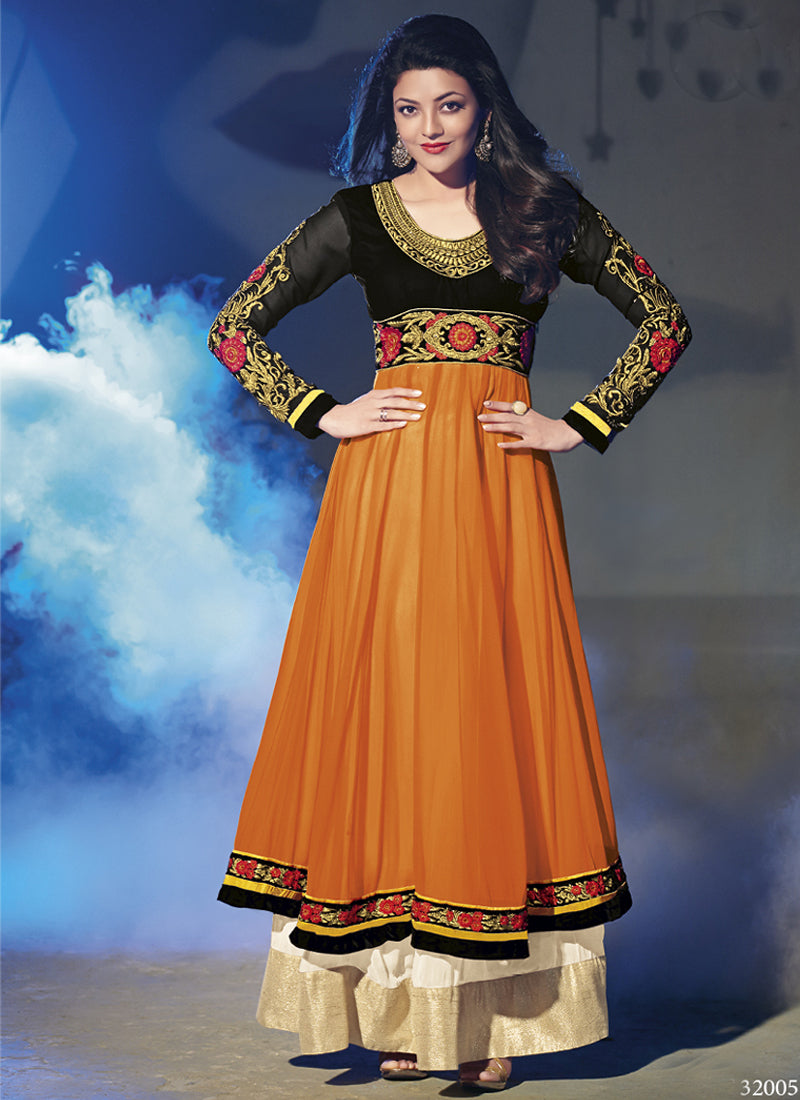 Orange georgette party wear salwar