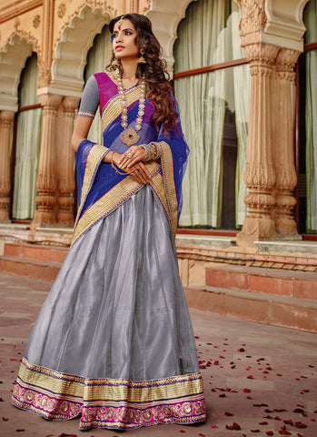 grey net party wear lehenga choli