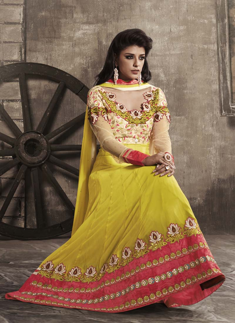 Yellow georgette embroidered Anarkali suit