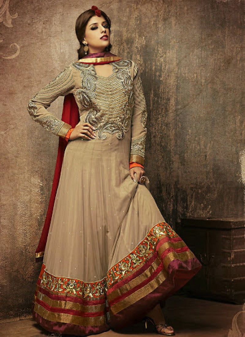 Golden net embroidered work salwar kameez