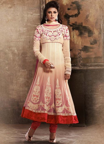 Cream georgette party wear salwar suit