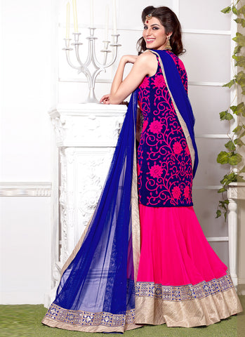pink georgette embroidered lehenga