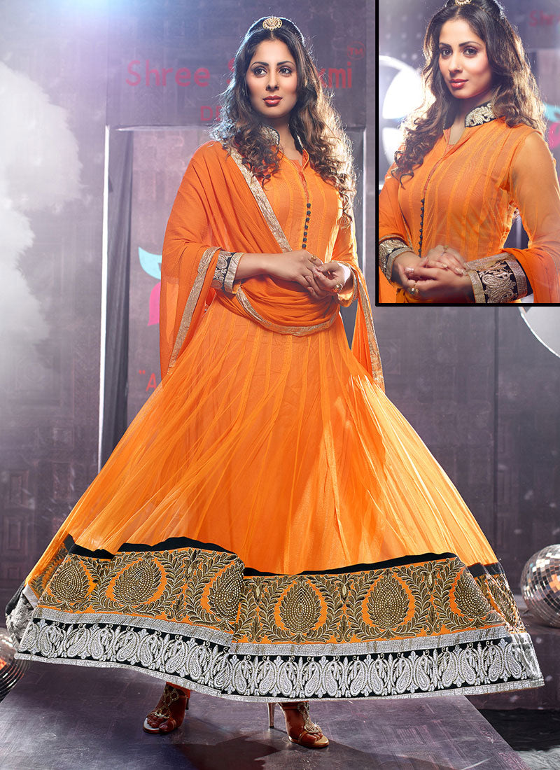 Orange Net Lace Border Work Anarkali Suit
