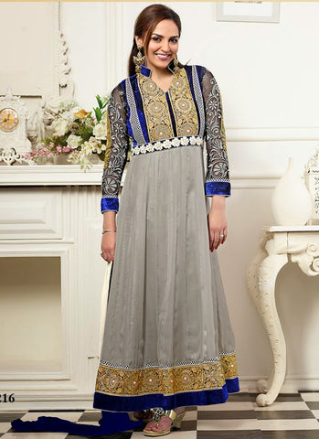Grey georgette wedding wear anarkali suit