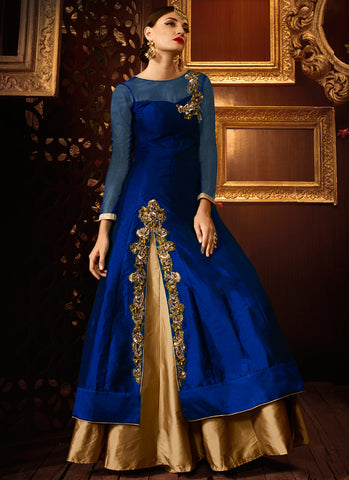 Blue taffeta silk party wear khatli work anarkali suit