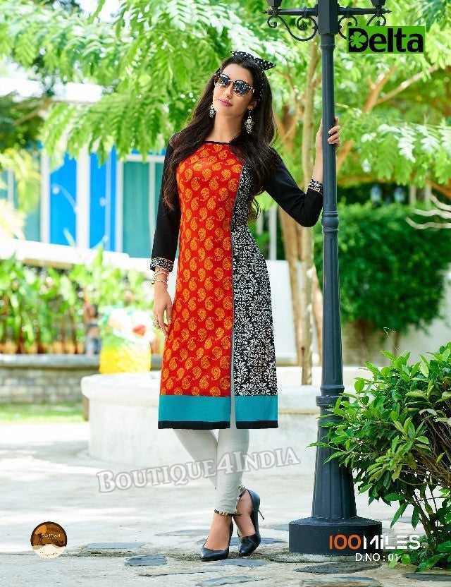 Orange Self Design and printed Cotton Kurti