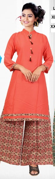 Orange Rayon Printed Kurti With Palazzo