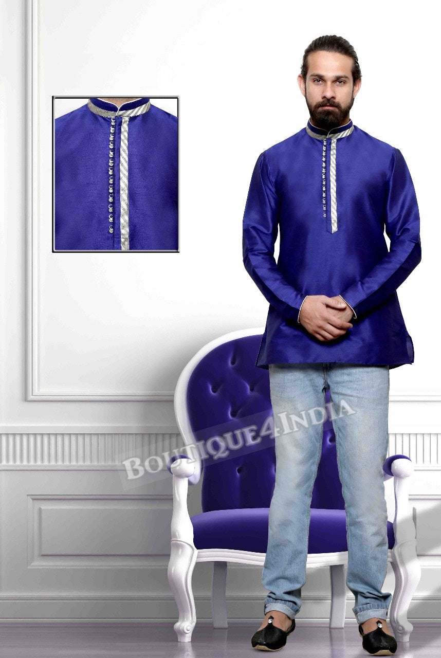 Navy Silk Cotton Men's Kurta