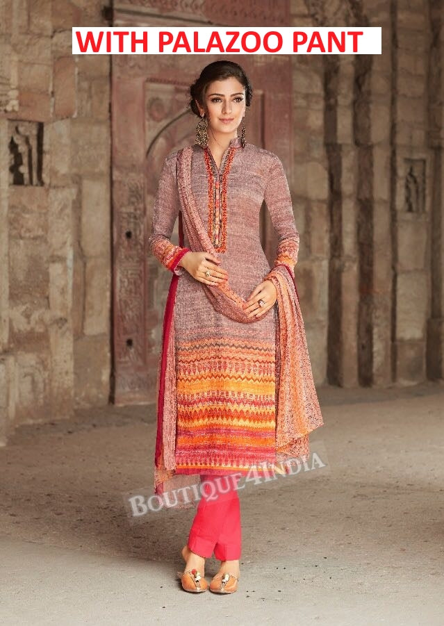 Multicolor Printed Pashmina Palazoo Suit