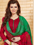 Elegant Embroidery Work Salwar Collection - Ruby Red, Green And Multi Color  Ready To Stitch Material / Simple And Beautiful Embroidery Work And Unique Color Combination Salwar Suits / Party / Festivals / Special Occasions /Casual - Ready to Stitch - Boutique4India Inc.