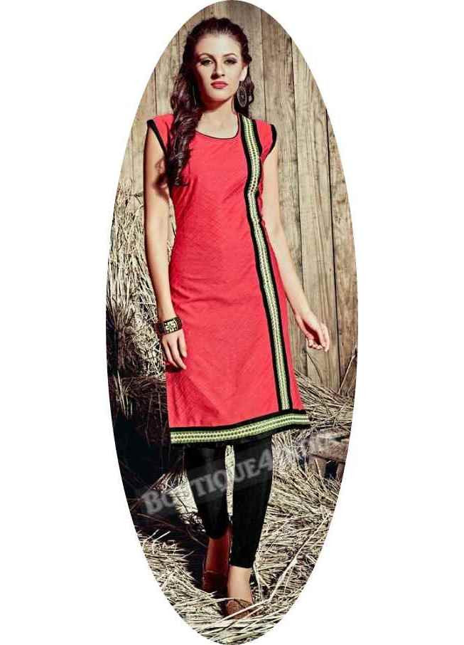 Peach Exotic colored Rayon Fabric Kurti