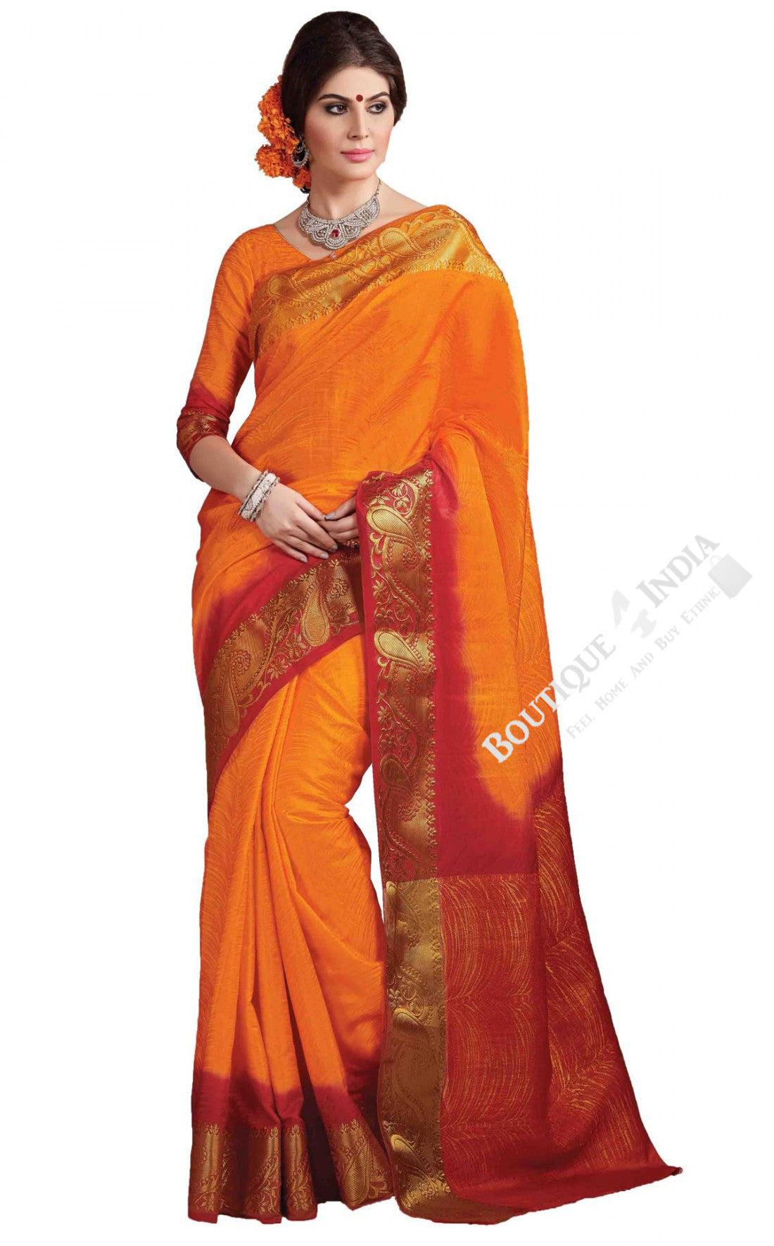 Jacquard Silk Saree in Orange, Maroon and Golden - Boutique4India Inc.
