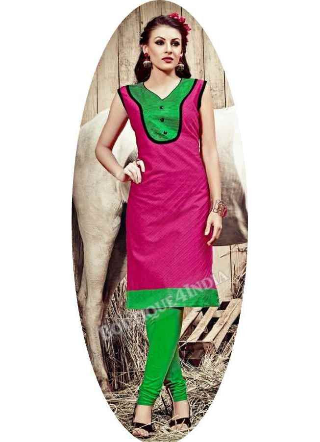 Pink Exotic colored Rayon Fabric Kurti