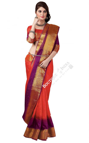 Jacquard Silk Saree in Orange, Purple and Golden Jarri - Boutique4India Inc.