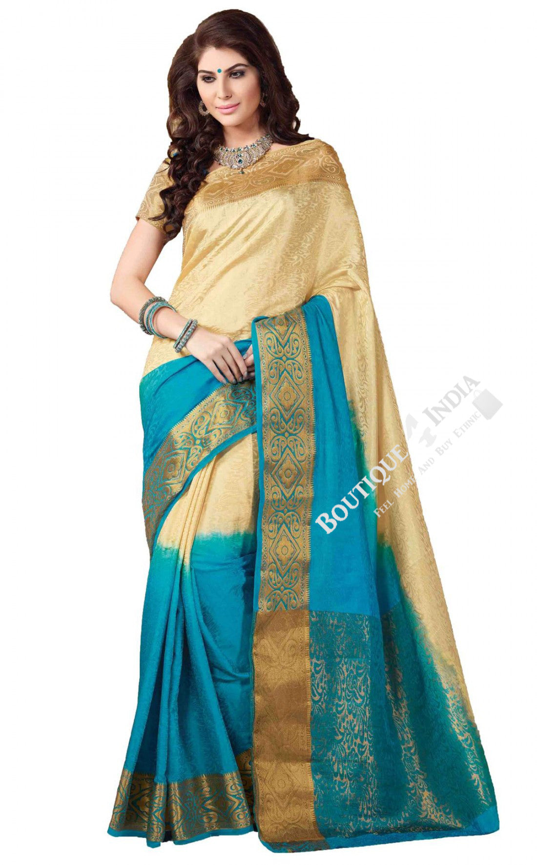 Jacquard Silk Saree in Blue, Cream and Golden Jarri - Boutique4India Inc.