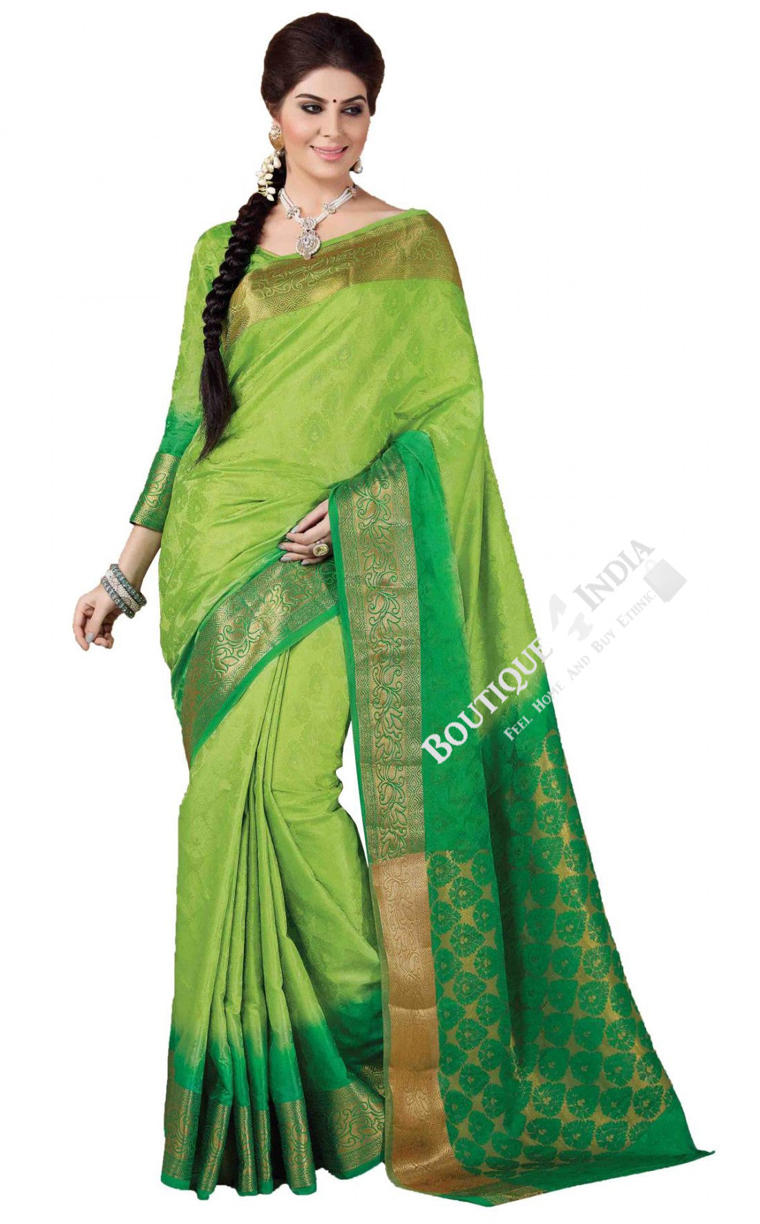 Jacquard Silk Saree in Light and Dark Green - Boutique4India Inc.