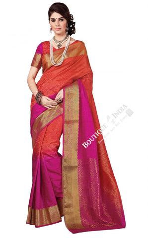Jacquard Silk Saree in Orange, Marron and Golden - Boutique4India Inc.