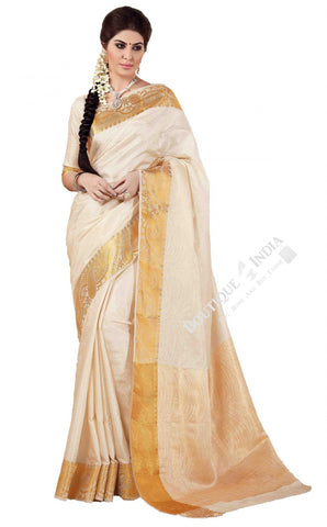 Jacquard Silk Saree in Cream / Half White and Golden - Boutique4India Inc.