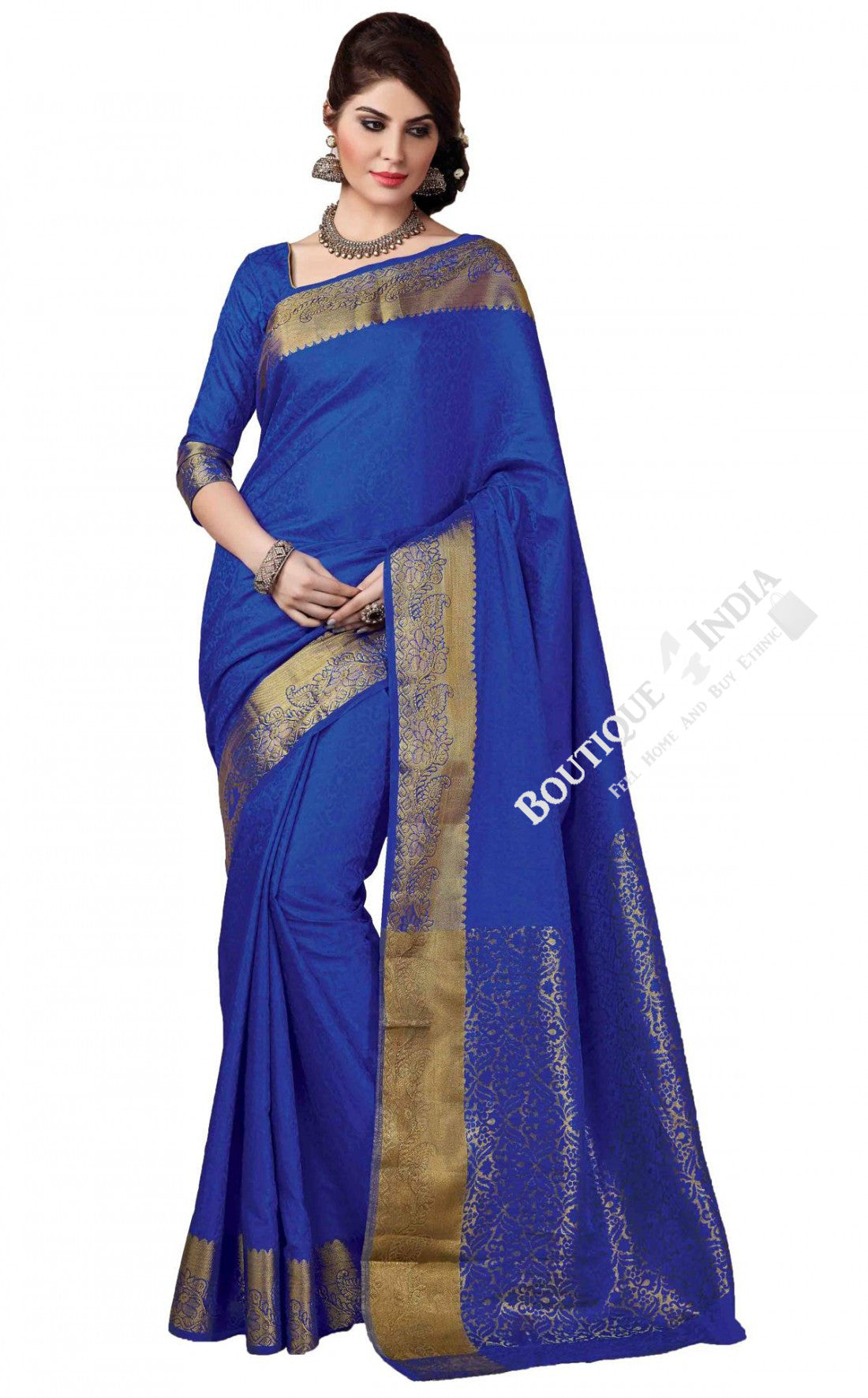 Jacquard Silk Saree in Blue and Golden - Boutique4India Inc.