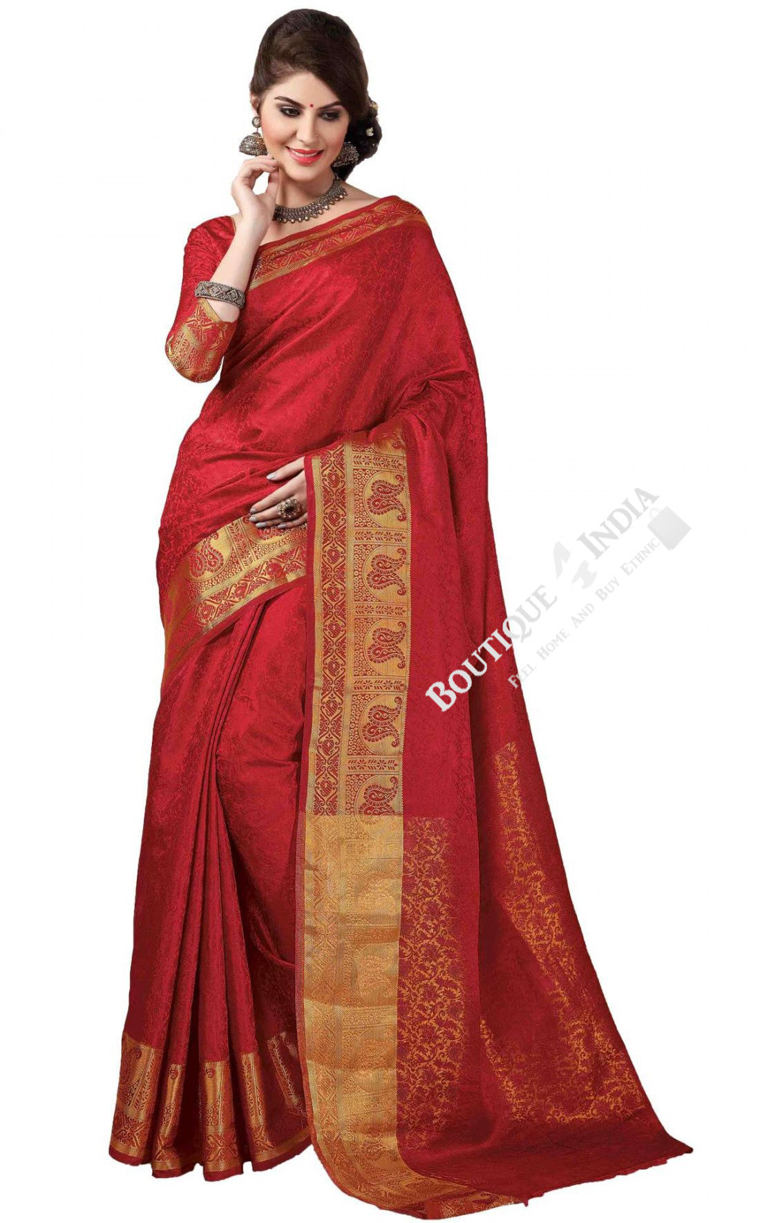 Jacquard Silk Saree in Red and Golden Jarri - Boutique4India Inc.