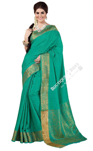 Jacquard Silk Saree in Turquoise with Golden Jarri - Boutique4India Inc.
