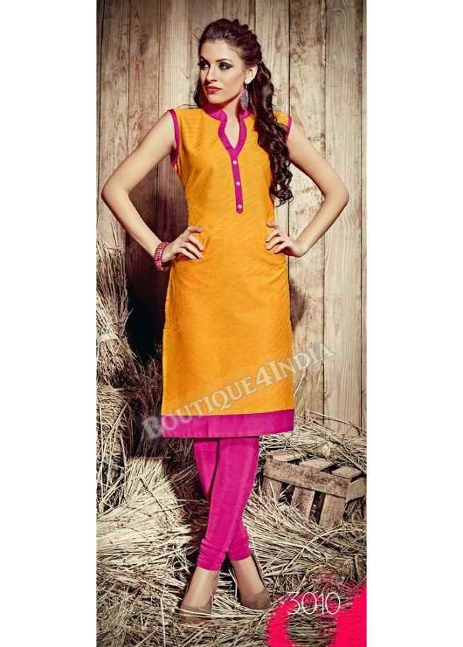 Yellow Exotic colored Rayon Fabric Kurti