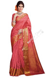 Jacquard Silk Saree in Pink and Golden Jarri - Boutique4India Inc.