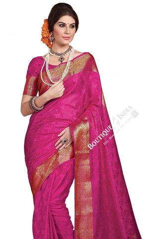 Jacquard Silk Saree in Purplish Pink and Golden Jarri - Boutique4India Inc.