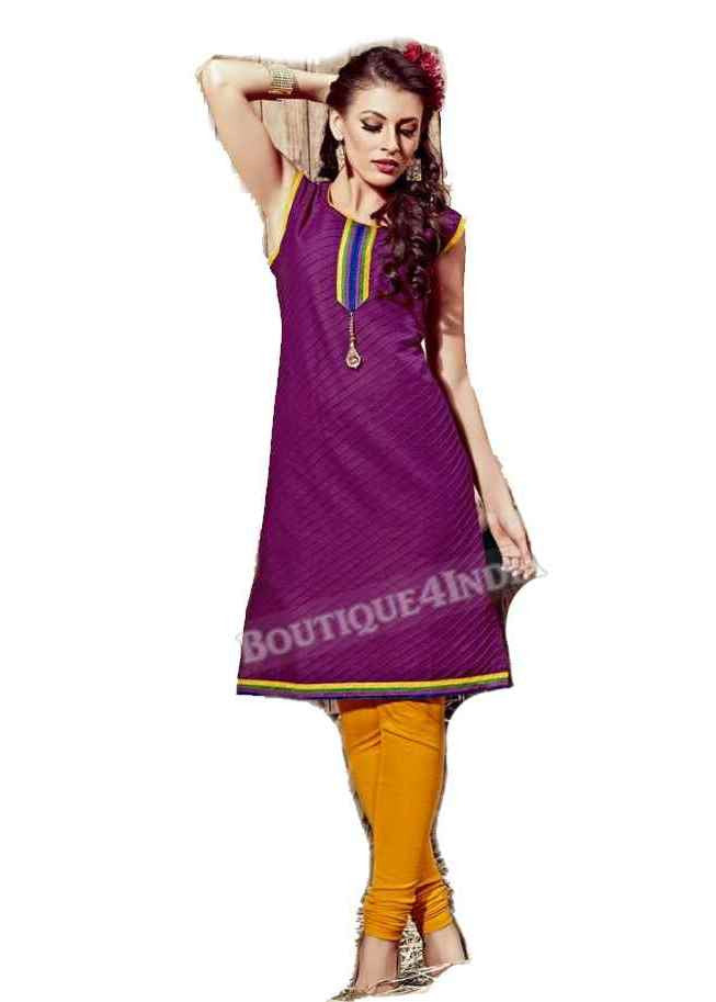 Purple Exotic colored Rayon Fabric Kurti