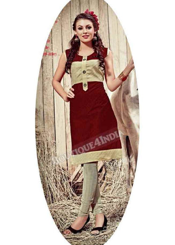 Maroon Exotic colored Rayon Fabric Kurti