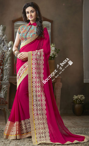 Net and Chiffon Silk Saree in Hot Pink and Golden - Boutique4India Inc.