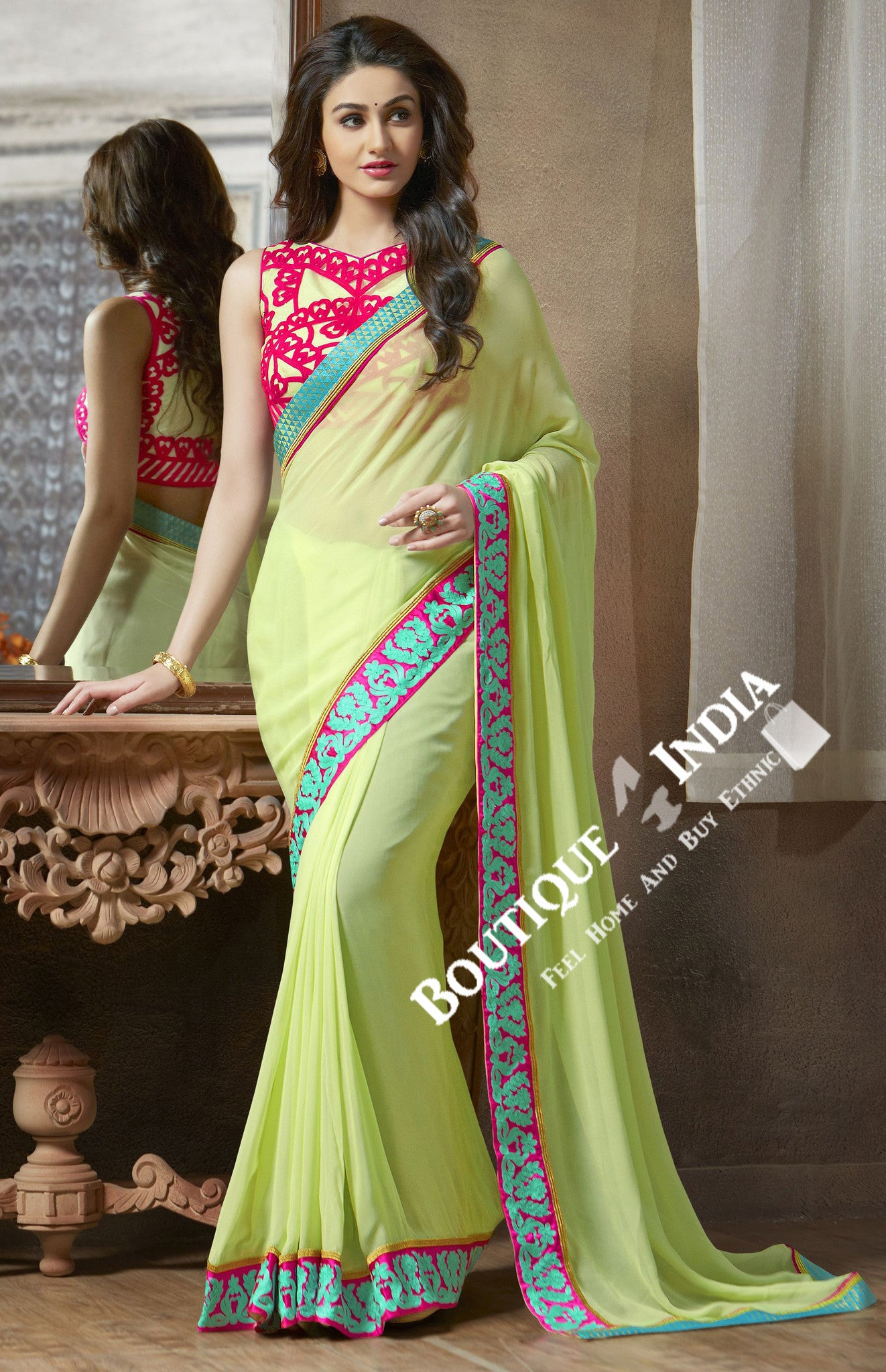 Net and Chiffon Silk Saree in Pista Green and Pink - Boutique4India Inc.