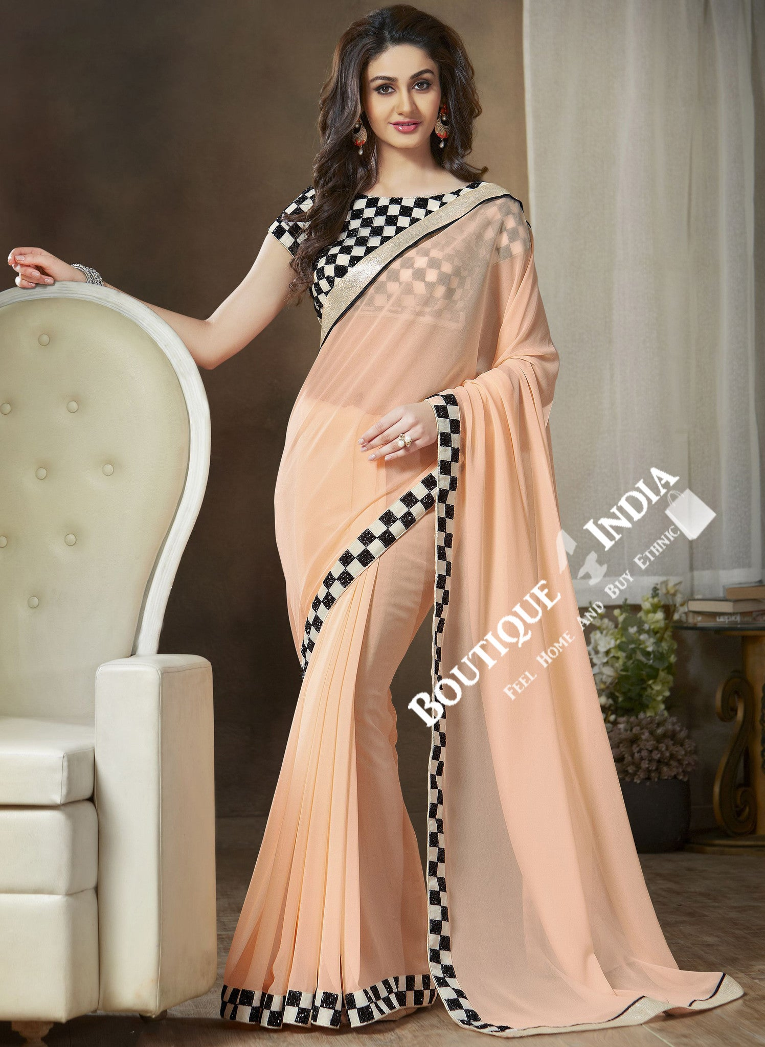 Net and Chiffon Silk Saree in Peach, Black and White - Boutique4India Inc.