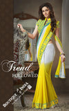 Net and Chiffon Silk Saree in Yellow and Blue - Boutique4India Inc.