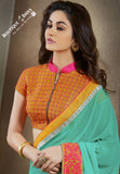 Net and Chiffon Silk Saree in Turquoise, Orange and Pink - Boutique4India Inc.