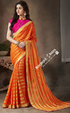 Net and Chiffon Silk Saree in Orange, Pink And Golden - Boutique4India Inc.
