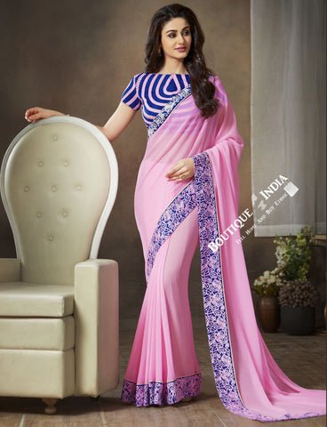 Net and Chiffon Silk Saree in Pink and Royal Blue - Boutique4India Inc.