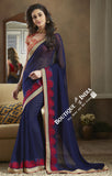 Net and Chiffon Silk Saree in Black and Pink - Boutique4India Inc.