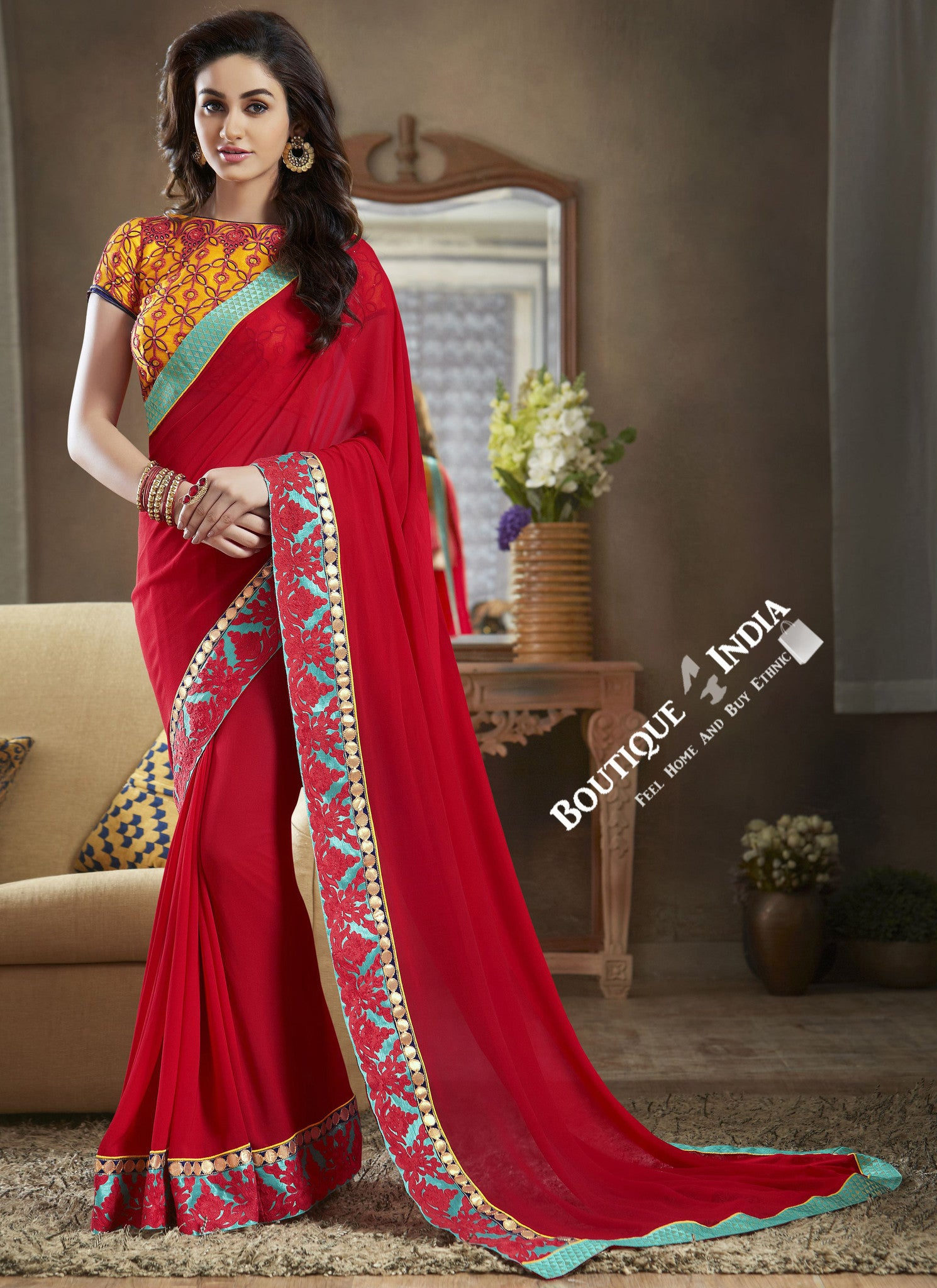 Net Chiffon and Silk Saree with Pink Blue and Orange - Boutique4India Inc.