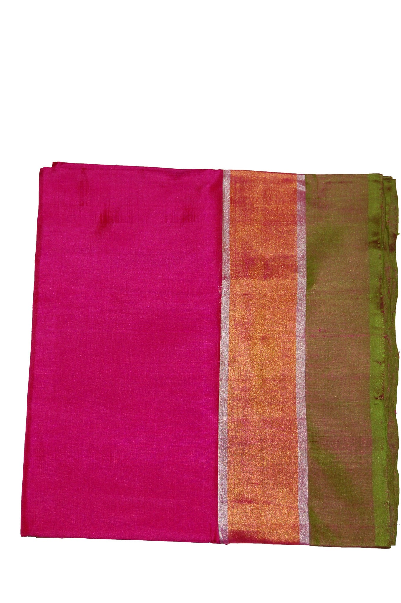 Pure Light weight Uppada Silk Saree in Pink Green and Golden Color