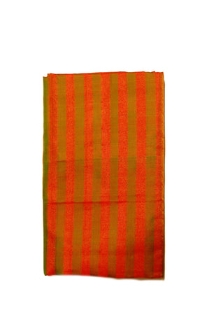 Pure Light weight Uppada Silk Saree in Orange and Green Striped Color