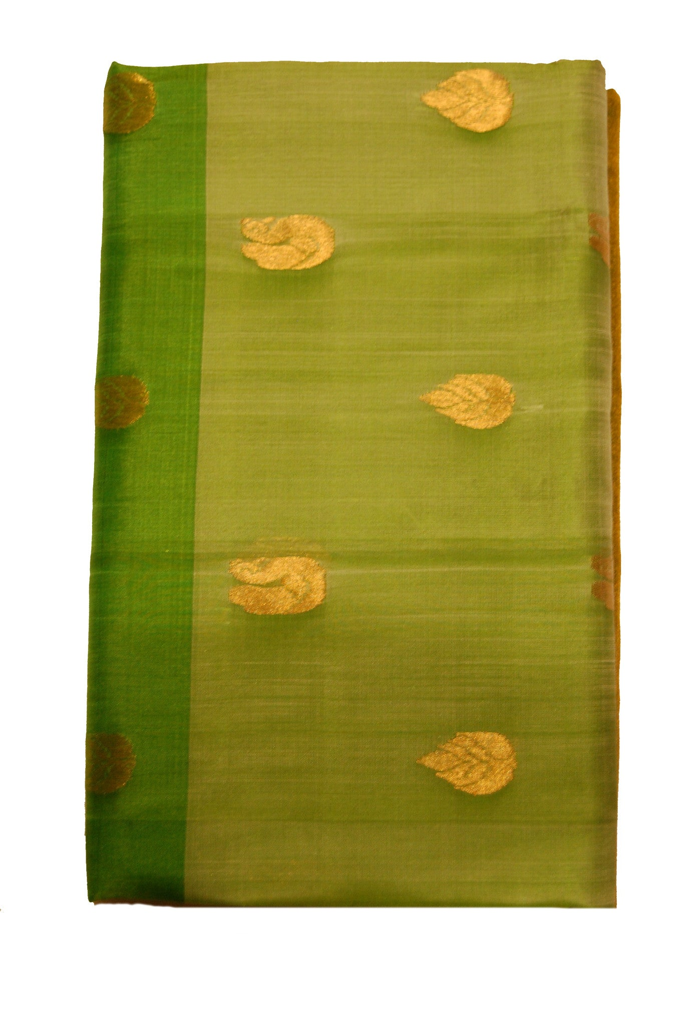 Uppada Silk Saree in Green with Golden Butta and Jarri Color