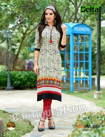 Beige & black Self Design and printed Cotton Kurti