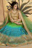 Green Net Zarkan Work Bridal Lehenga Choli