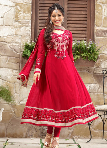 Red Georgette Casual Wear Churidar Suit