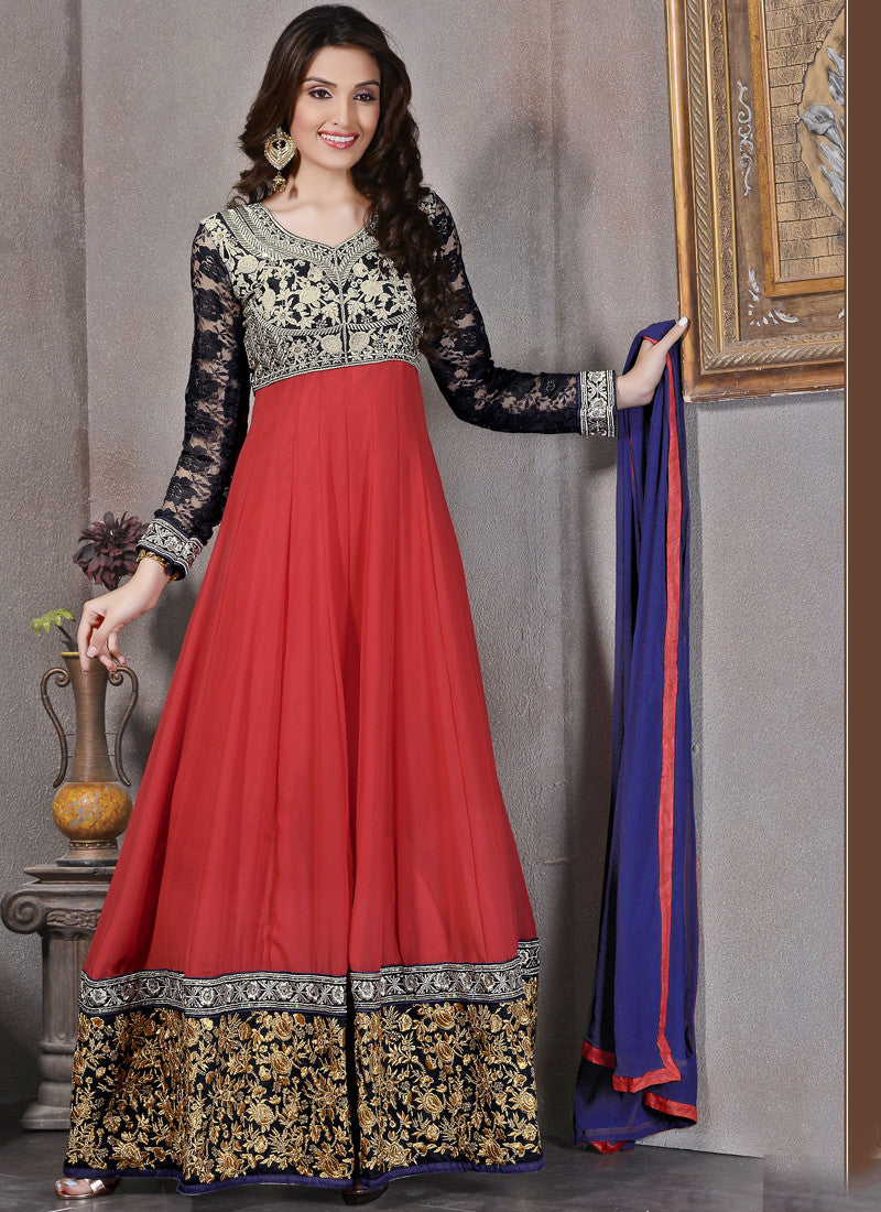 Transcendent Red Georgette Anarkali Salwar suit